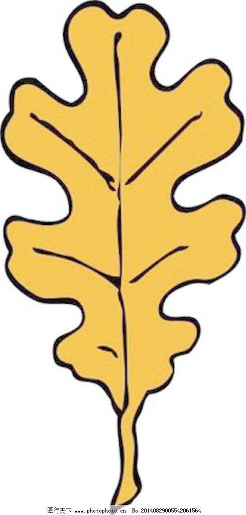 橡树叶剪贴画免费下载 卡通 轮廓树的叶 卡通 自动的叶子 橡叶 矢量图