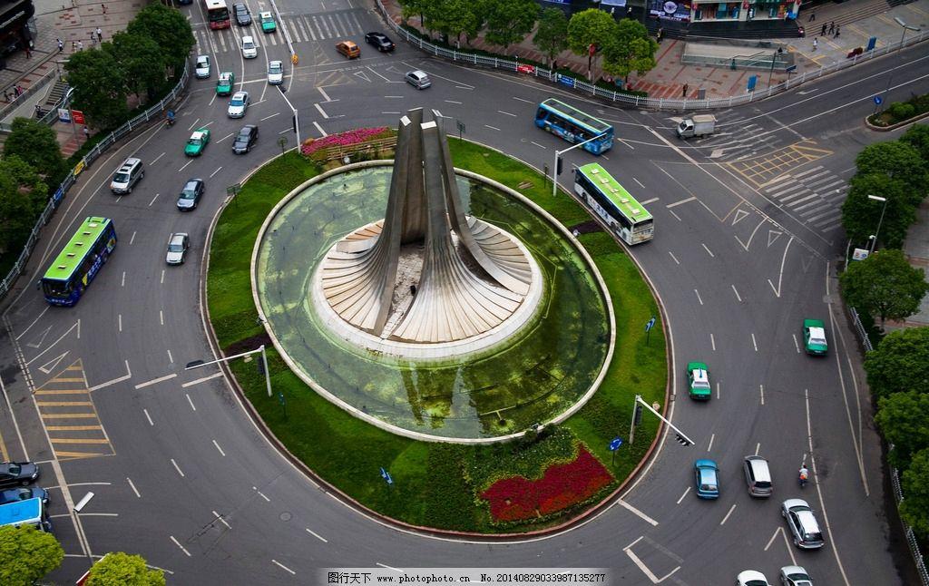 城市俯视 鸟瞰 环岛 路口 交通 车流 国内旅游 摄影