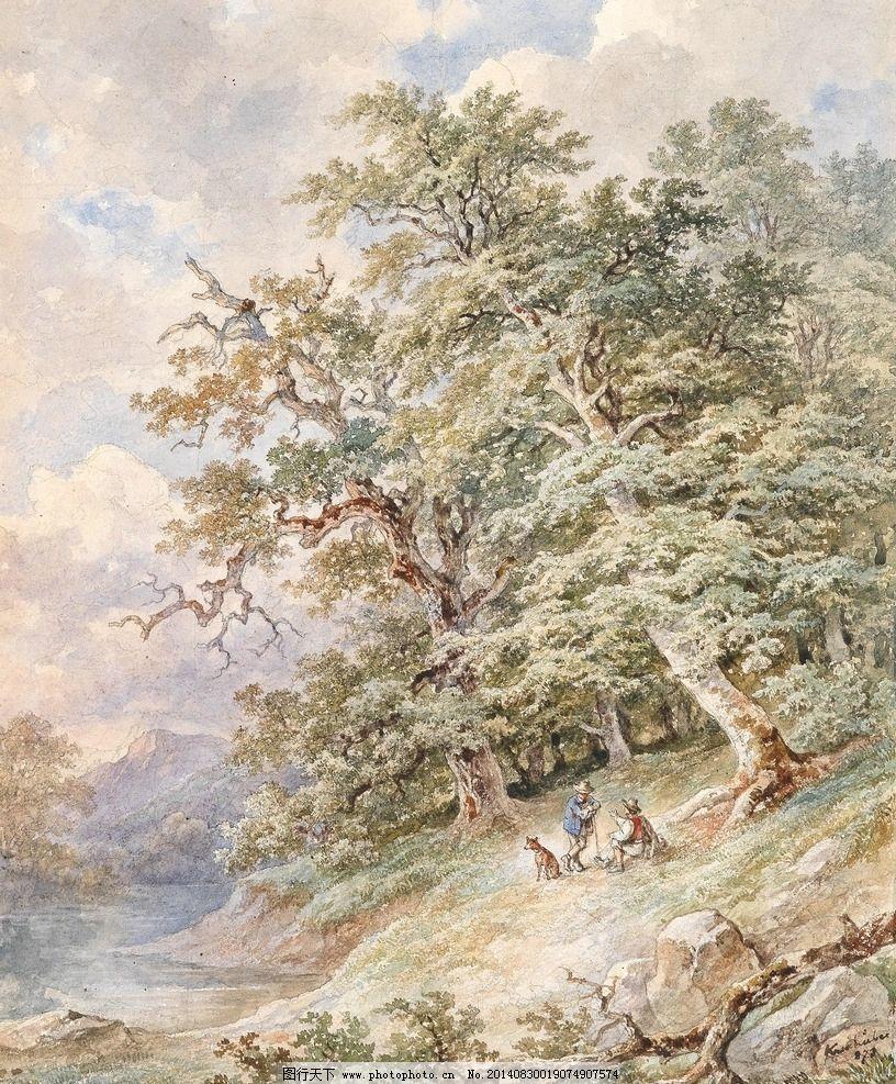 湖边风景 奥地利画家 树林 深秋 大湖 远山 19世纪水彩画 水彩画 绘画
