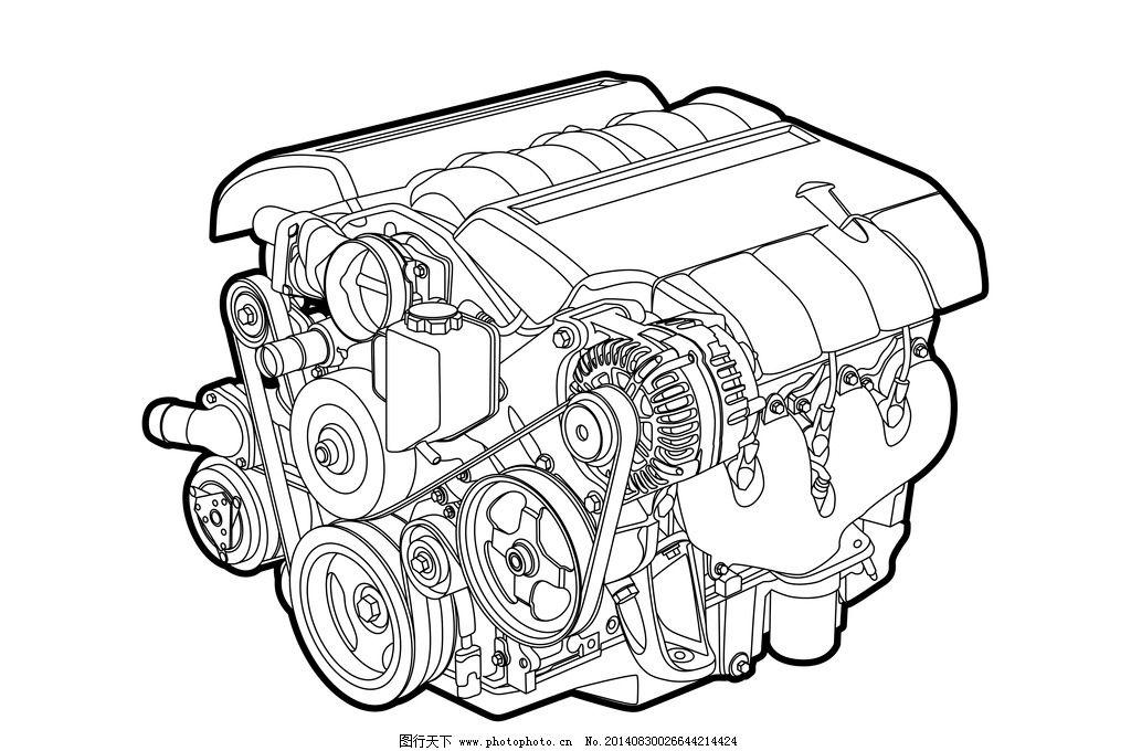 汽车发动机 手绘 机械 零件 不锈钢 汽车部件 发动机零件 动力系统 科
