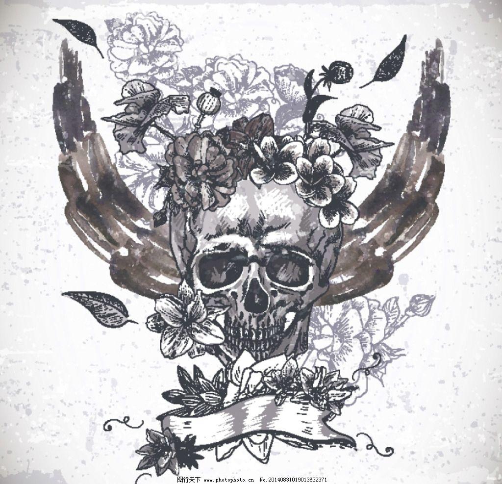摇滚 摇滚乐 摇滚乐队 骷髅图案 翅膀 重金属音乐 乐队 非主流 纹身