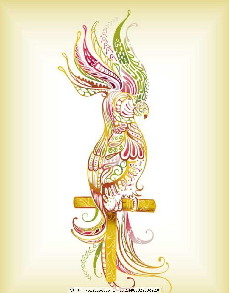 时尚线描手绘鹦鹉图片