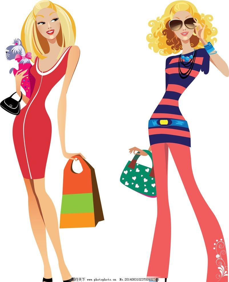 购物 性感少女 女人 美女 时尚 卡通美女 少女 美丽 浪漫 手绘 女性图片