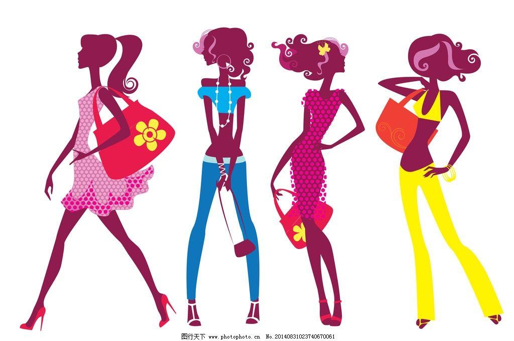 手绘少女 手绘美少女 女孩 都市美女 休闲美女 美女插画 购物 性感