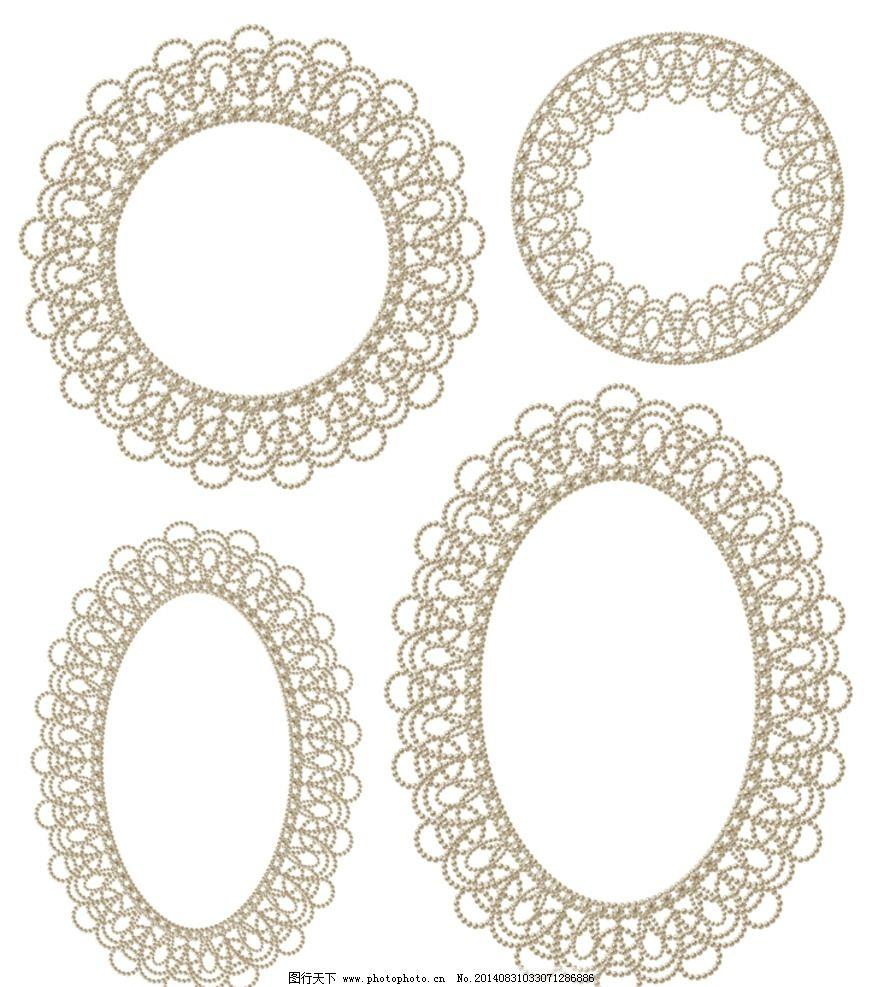 边框素材 白色边框 圆形花纹边框