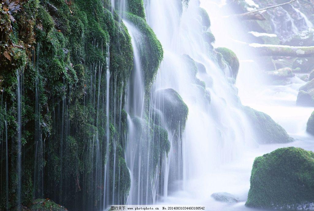 瀑布 大自然 山水风景 溪流 水源 源泉 水流 原始森林 树林 花草 隐居
