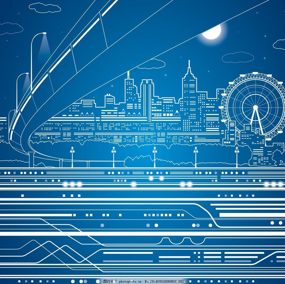 手绘建筑 高架桥 都市 城市 国外建筑 楼房 速写 建筑写生 线描