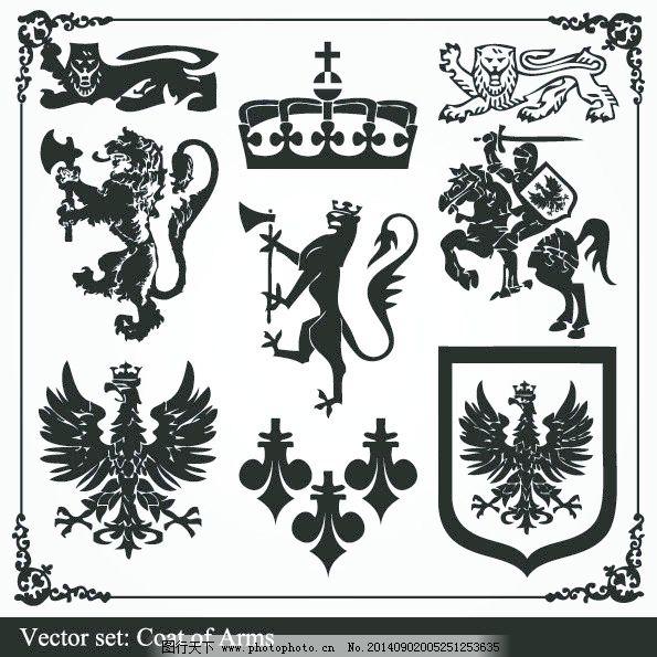 复古欧式皇冠狮子剪影矢量素材