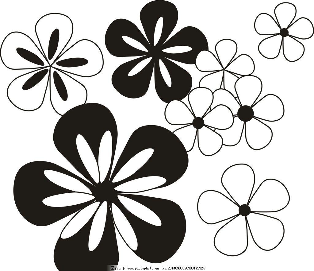 花 花朵 底纹 花瓣 黑白花 小花 花边花纹 底纹边框图片