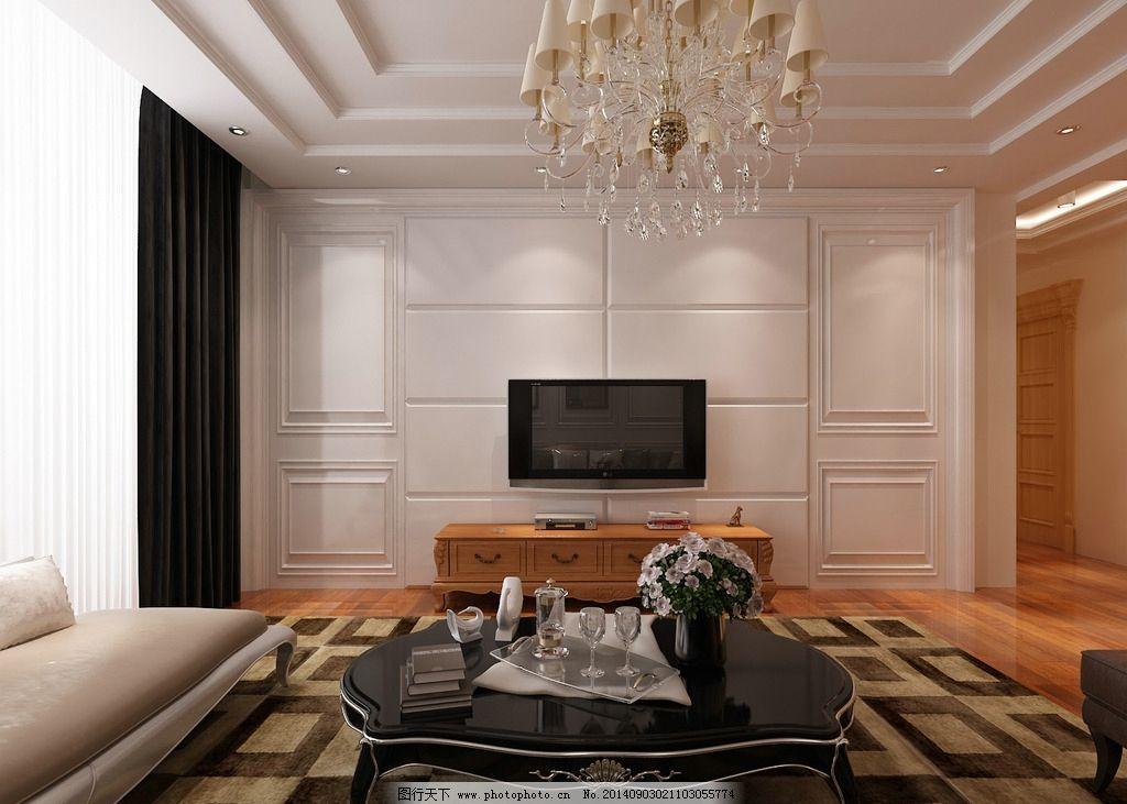简欧装修效果图 实木背景墙 厢板背景墙 护墙板背景墙 简欧客厅 客厅设计 新古典客厅 多层吊顶 室内模型 3D设计 设计 3D设计 室内模型 300DPI MAX