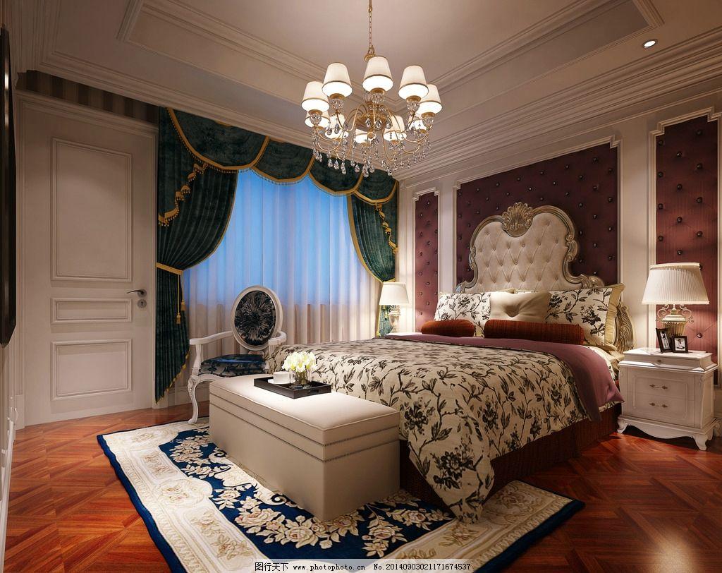 卧室3d 效果图 欧式图片