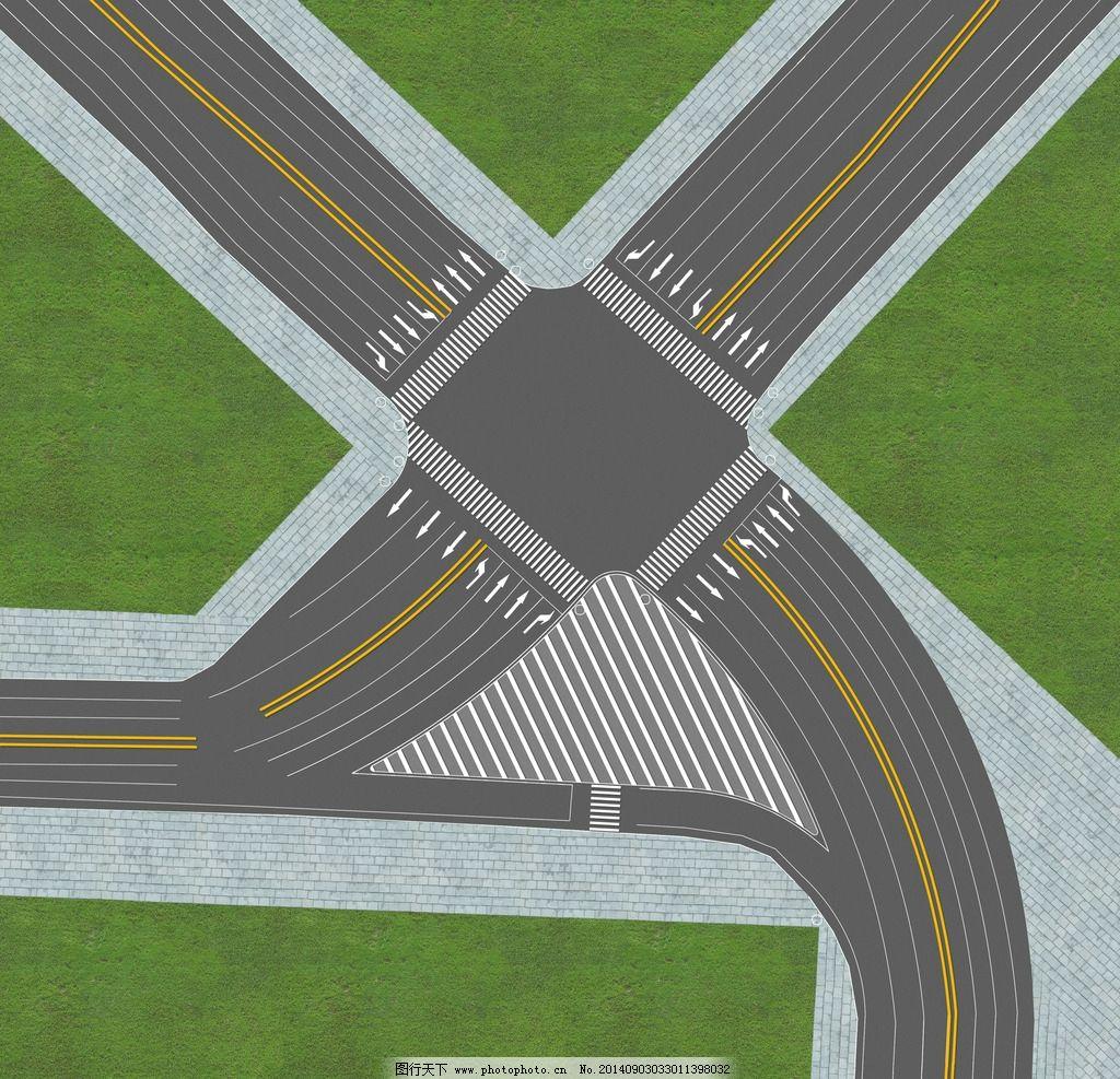 路口平面图 道路 十字路口 五岔路