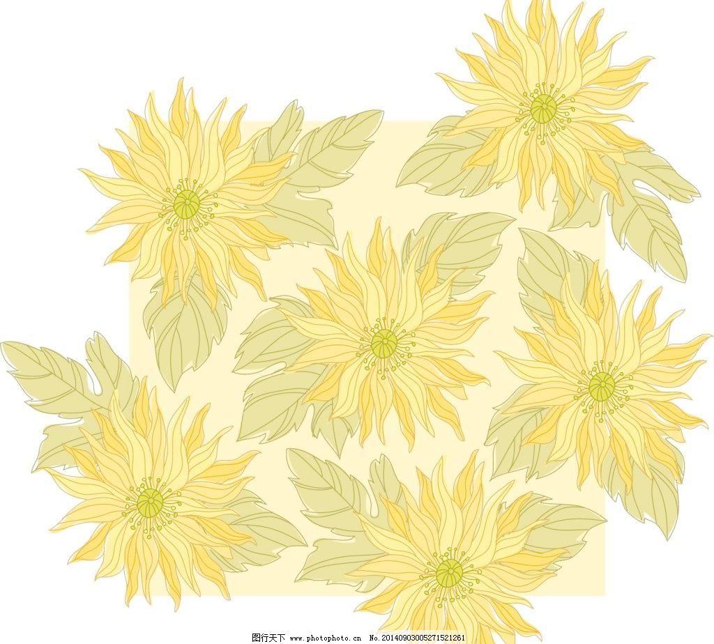 手绘向日葵免费下载 矢量边框花纹 矢量花纹素材 矢量图库 手绘向日葵