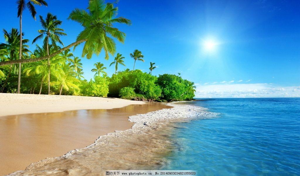 清爽海滩风景 马尔代夫 海边风景 风景壁纸 椰树 蓝天 白云 摄影