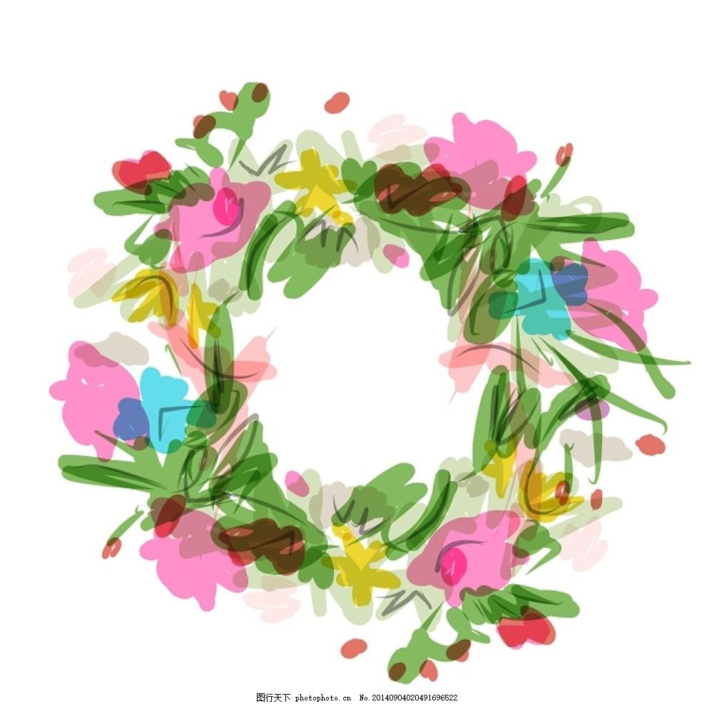 矢量手绘花环 边框 相框 花环 花框 花朵 花卉 鲜花 花纹 水彩 水墨