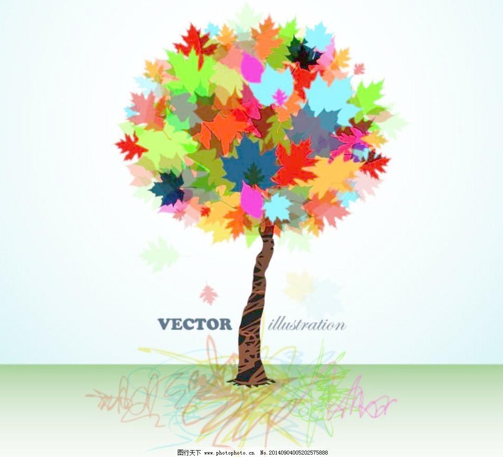 矢量边框花纹 矢量花纹素材 矢量图库 创意彩色大树 矢量花纹素材