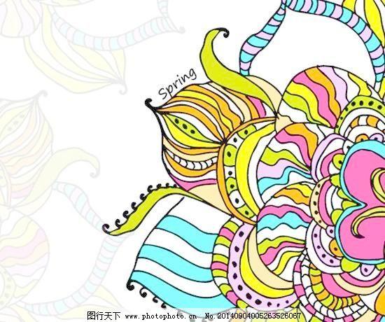 矢量手绘线条花朵图案