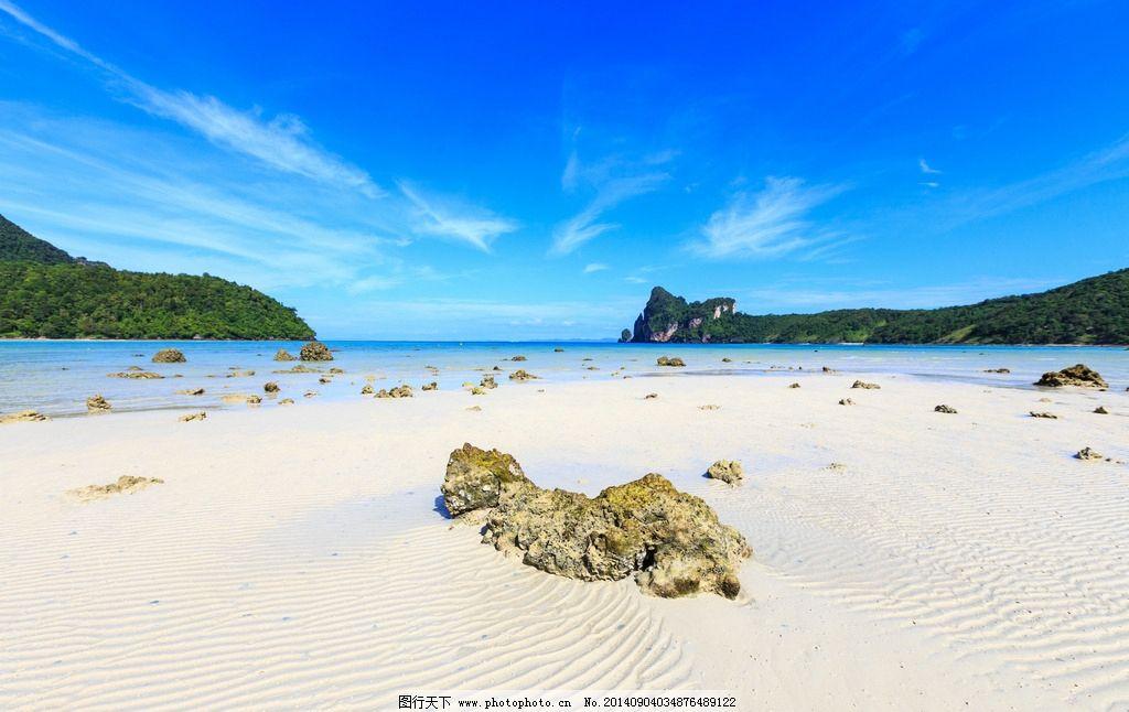 海滩 沙滩 蓝天 白云 海岸沙滩 沿海 礁石 石头 海边 海水