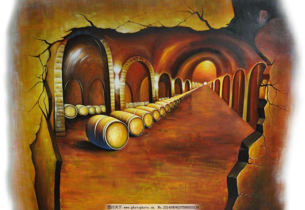 3d画酒窖 酒窖 红酒 橡木桶