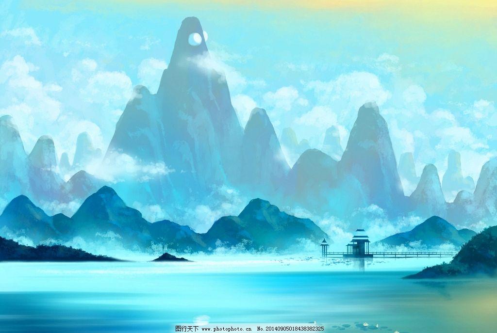 手绘古代玄幻风景图片
