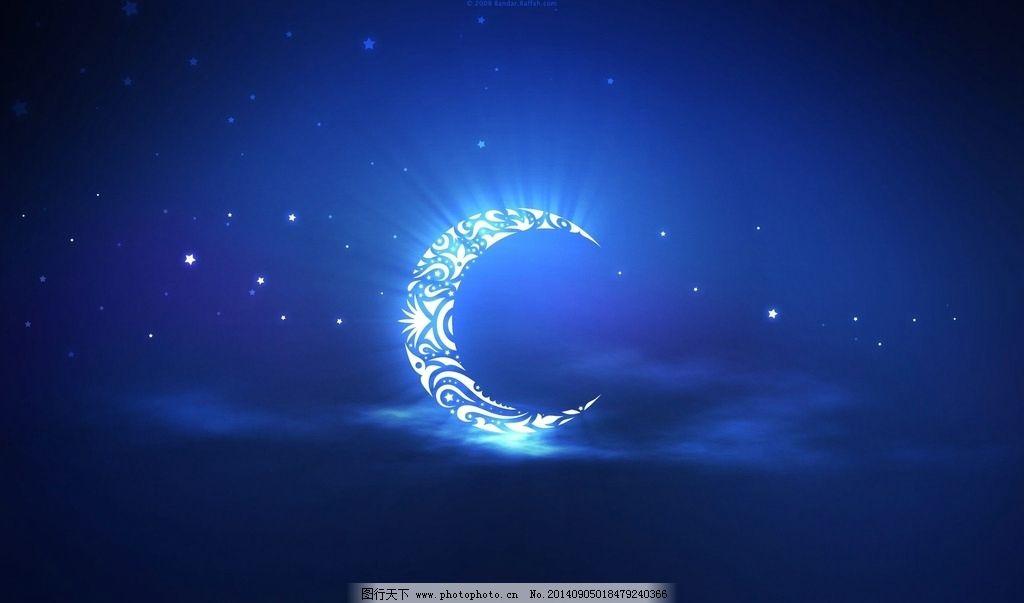 月亮 月牙 月光 星星 星空 夜空 唯美 风景漫画 动漫动画 星空 设计图片