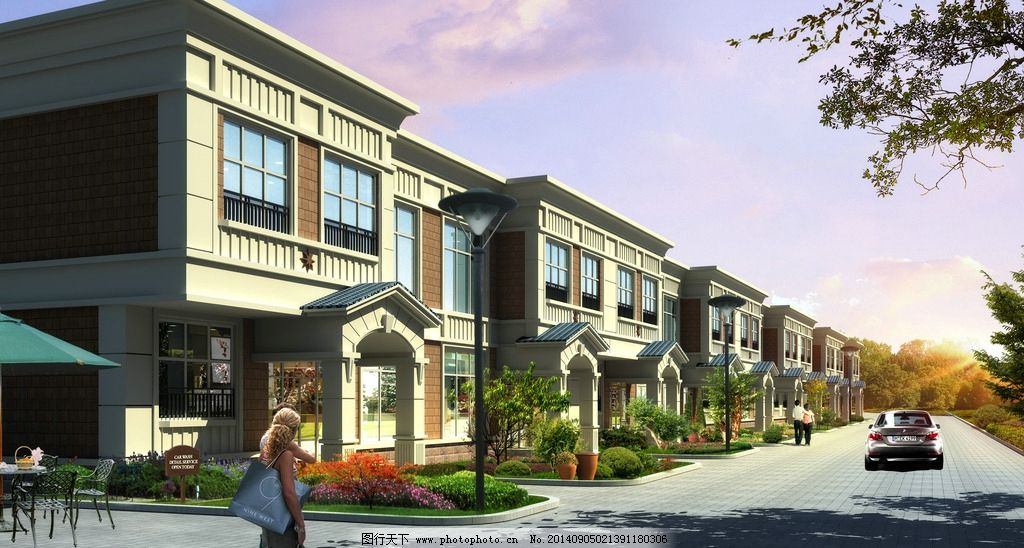 建筑效果图 商业区 别墅        小区 楼房 风景 样板房 室外模型 3d