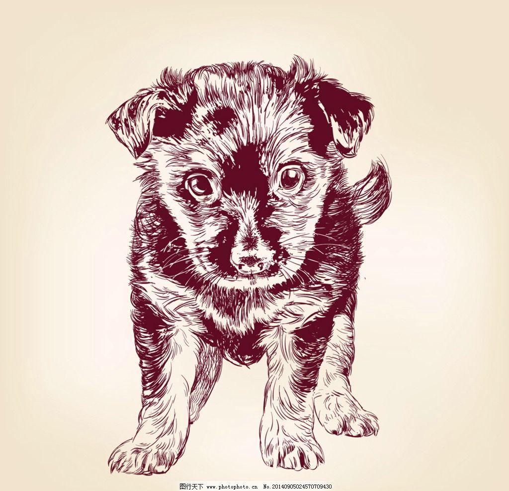 手绘宠物狗 手绘动物 小狗 家禽家畜 宠物狗 手绘素描动物 手绘 剪影