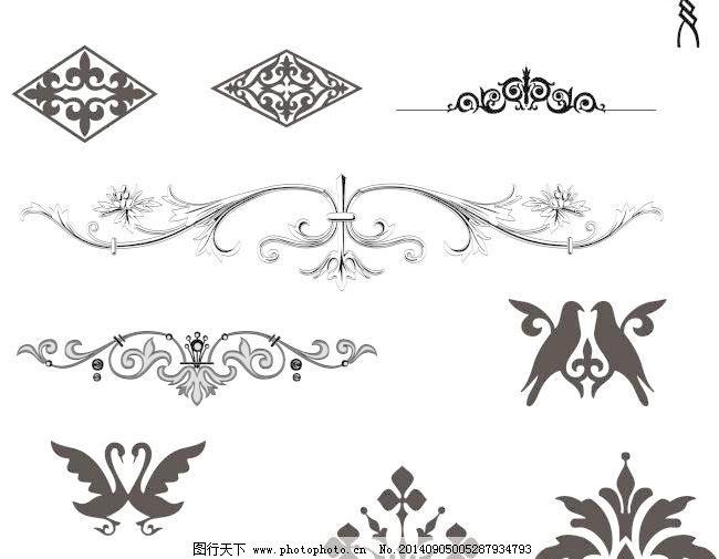 矢量素材欧式边角古典花纹
