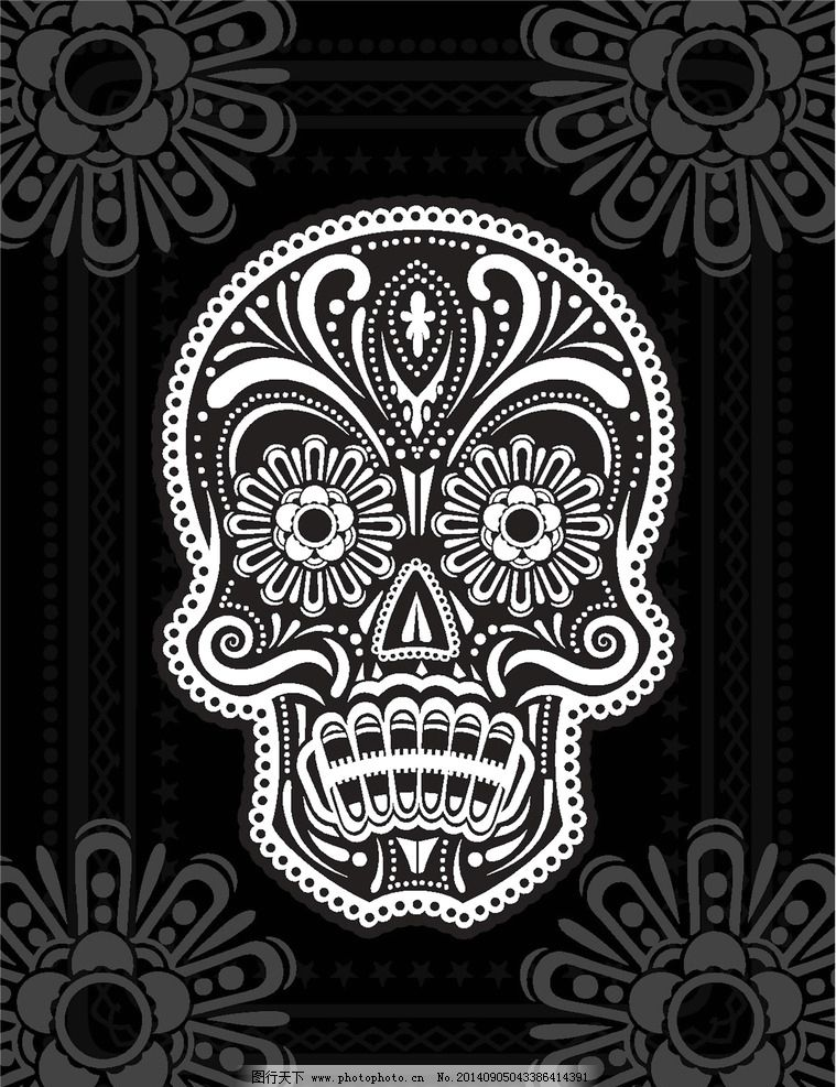 t恤图案 纹身图案 骷髅 服装设计 欧美花纹 欧式花纹 哥特风格图案