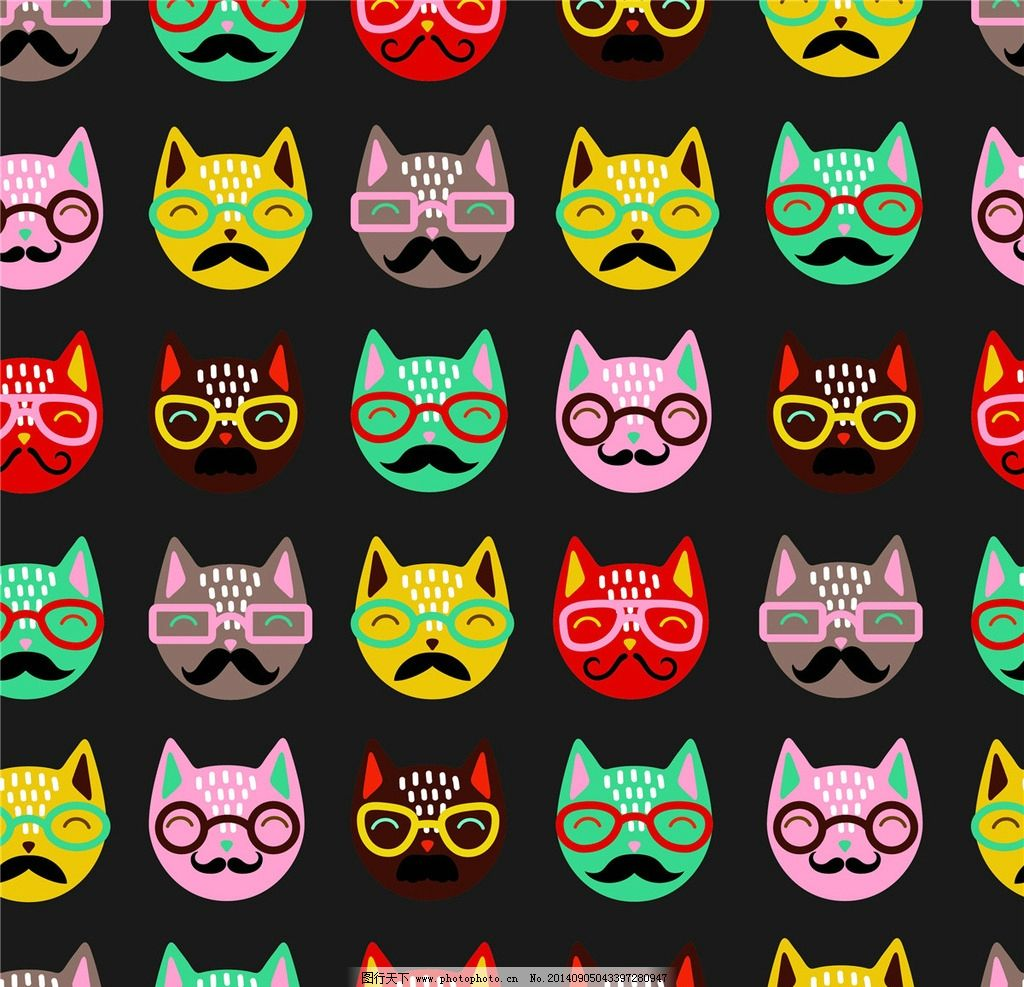 小动物头像 小猫 小狗 眼镜 太阳镜 卡通设计 广告设计 广告设计