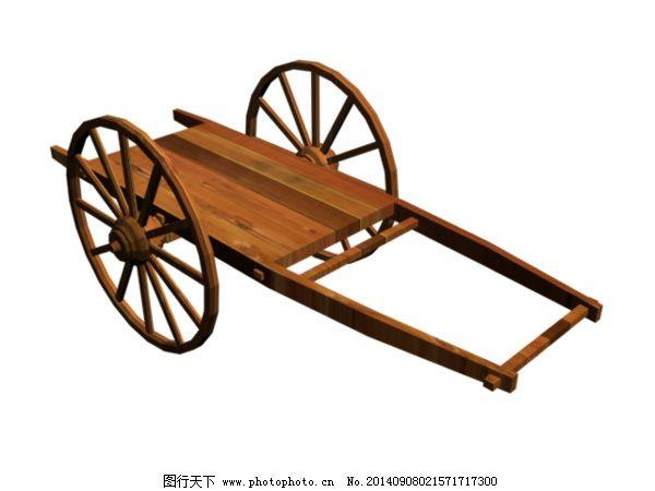 板车模型免费下载 3d模型 板车模型 木板车模型 3d模型 3d模型素材