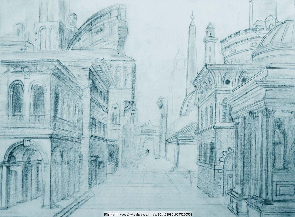 建筑素描画 房子 素描 单色 轮廓 房屋 绘画书法 文化艺术 设计 文化