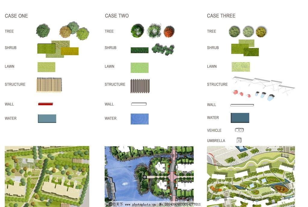 国外psd植物平面图 景观树木 园林平面 人物手绘 符号图标 psd分层