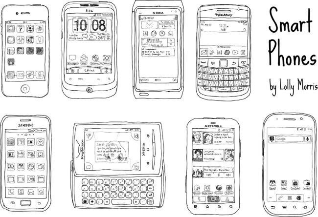 手绘线条手机