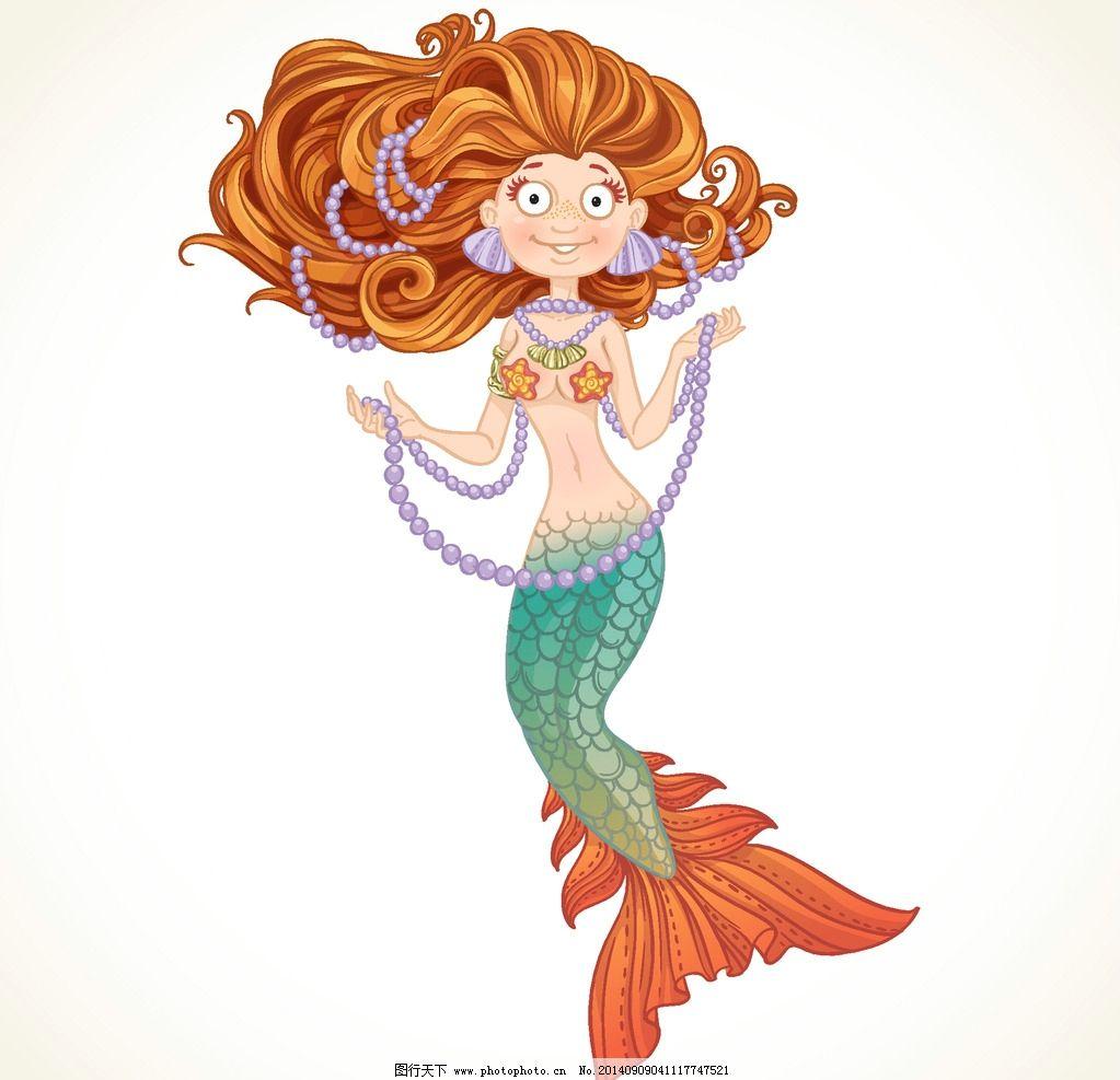 欧美风创意手绘插画 人鱼