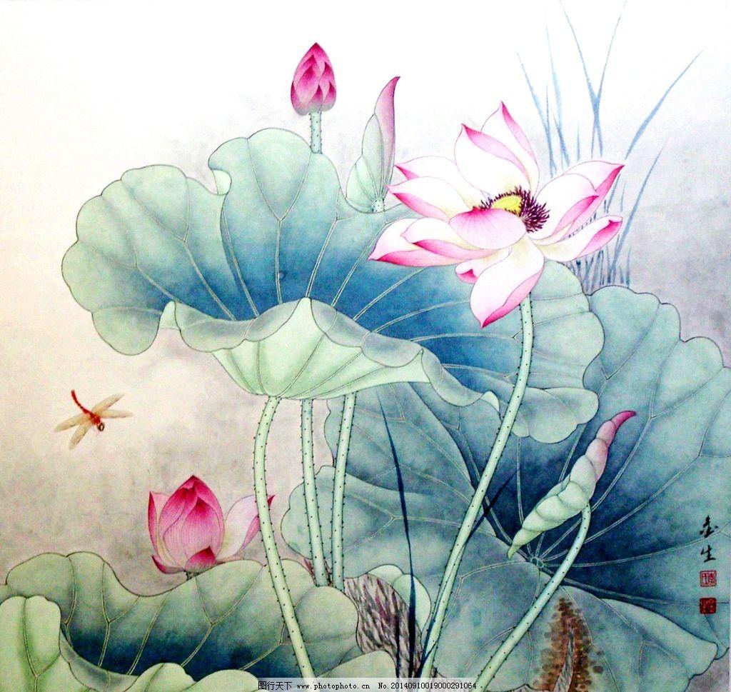荷花 素描 暗调 蜻蜓 浅色 绘画书法 文化艺术 设计 文化艺术 绘画