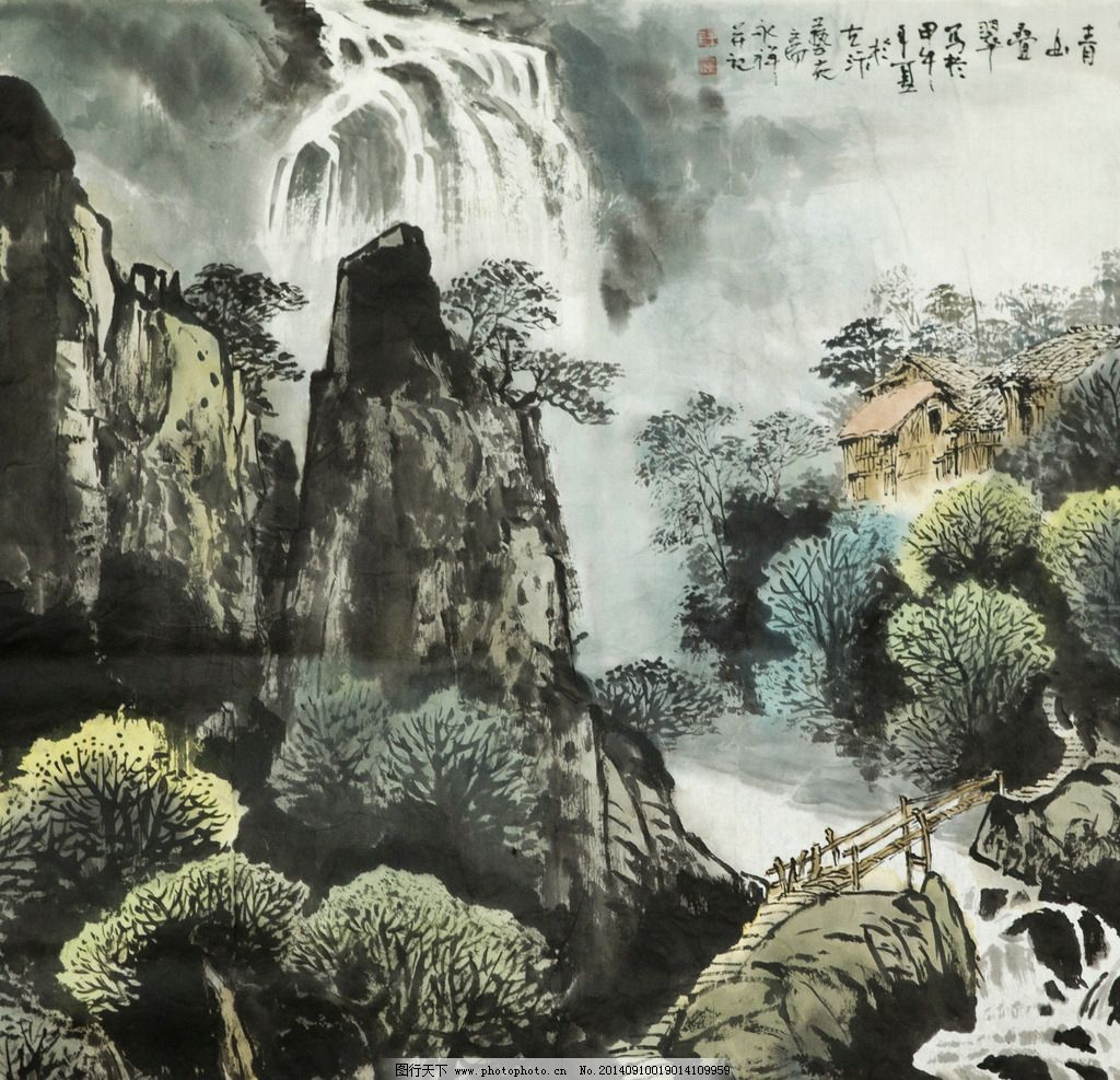 山水国画 国画 山水画 秋景 写意 太行山 绘画书法 文化艺术 国画山水