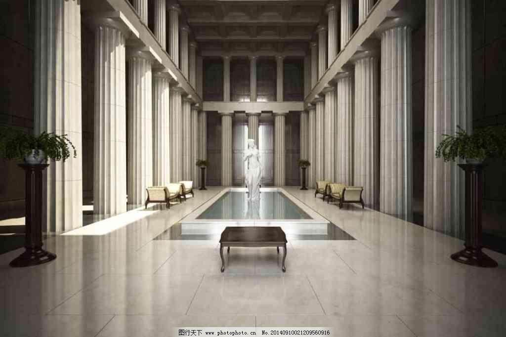 欧式喷泉大厅免费下载 大厅 建筑 罗马柱 欧式 水池 欧式 建筑 罗马柱图片