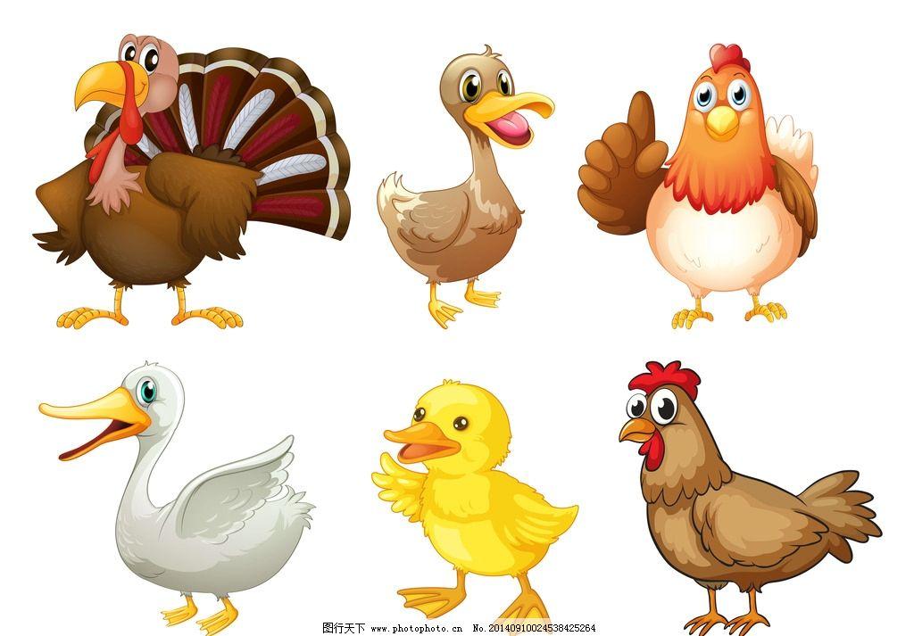 卡通动物 可爱 手绘 鸡