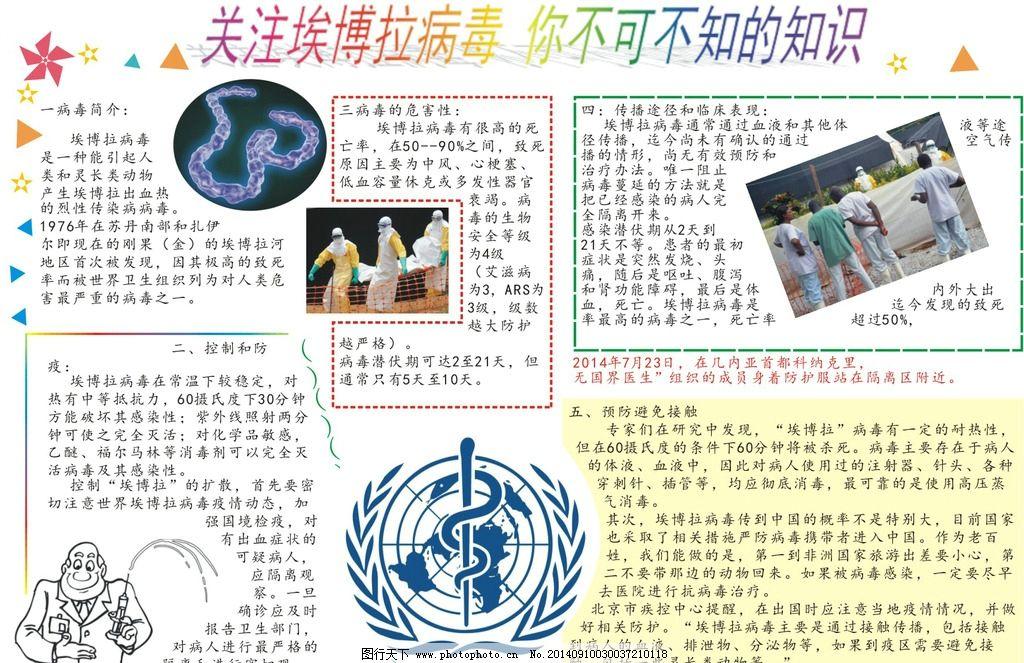 埃博拉 手抄报 简介 相关知识 预防 病毒特征