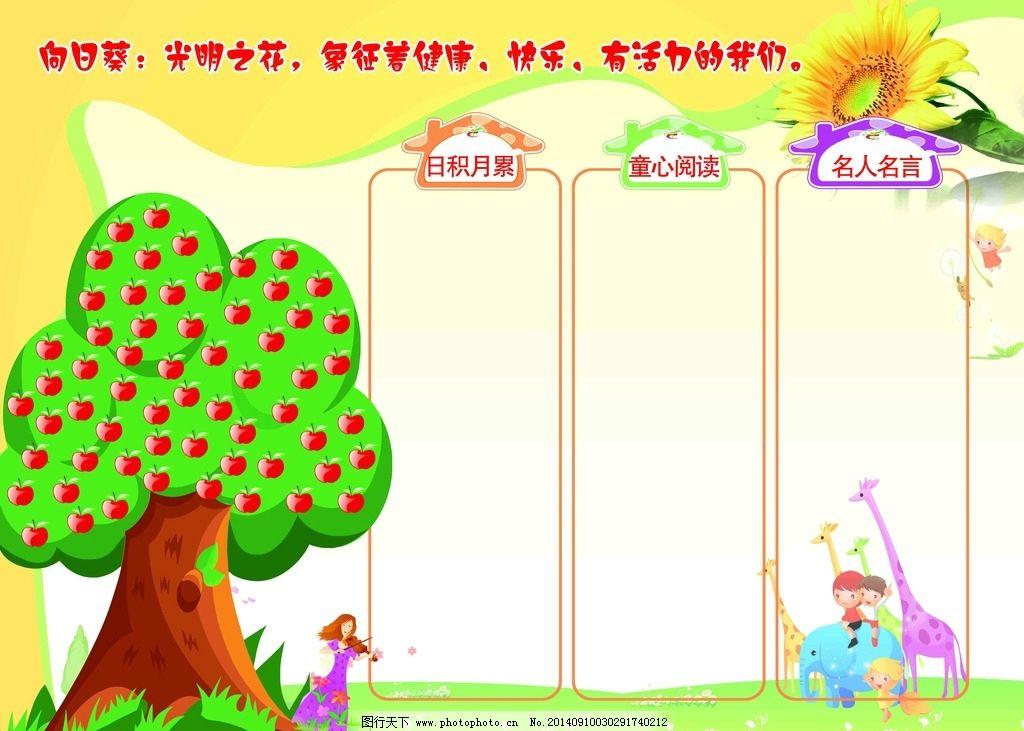 墙面宣传栏 展板 宣传栏 幼儿园 大树 苹果树 卡通 展板模板 广告设计