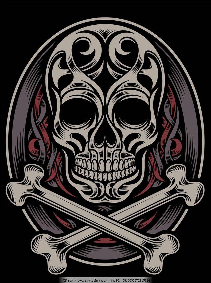 骷髅t恤图案纹身设计 服装设计 欧美花纹 欧式花纹 哥特风格图案