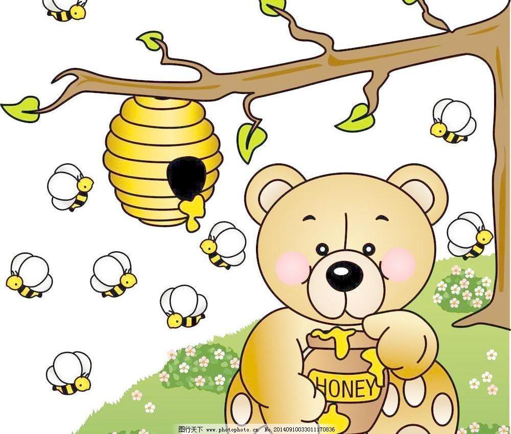 吃蜂蜜的小熊 潮流 底纹 底纹背景 底纹边框 动物 花朵 花纹