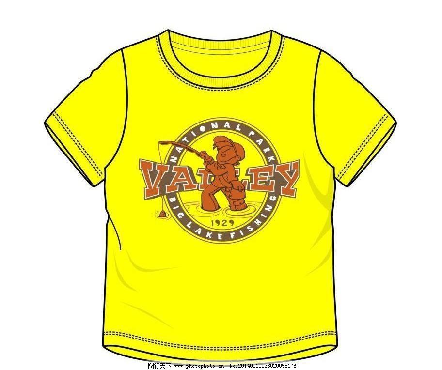 男孩钓鱼t恤 插画 抽象 创意图案 动漫 服装设计 小男孩 小鱼
