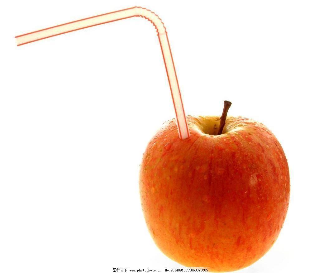 生物世界 水果 素材 吸管 苹果创意摄影图片免费下载 苹果 水果 创意