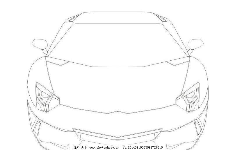 兰博基尼线稿图 交通 交通工具 汽车 汽车矢量图 玩具 现代科技