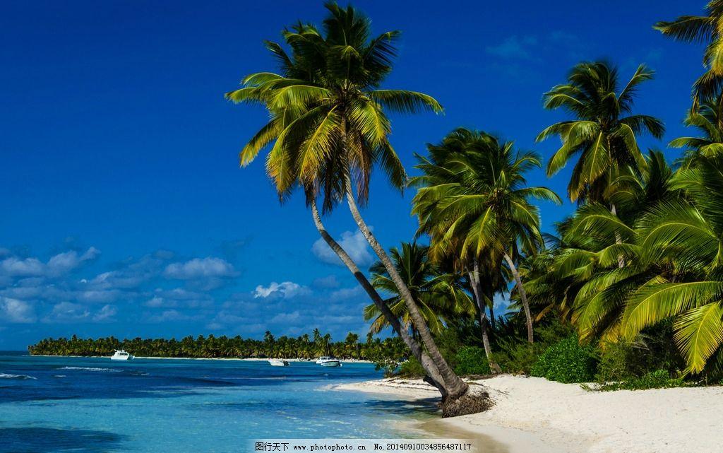 海滩 海边 沙滩 热带海滩 旅游 椰树 蓝天 白云 海岛 岛屿