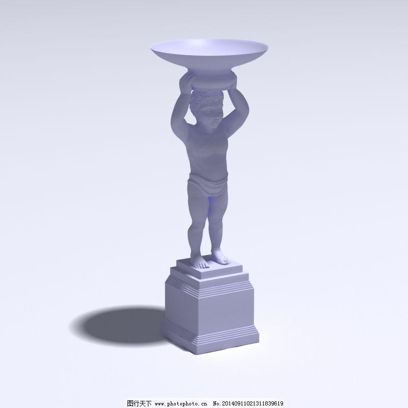 欧式 人物雕塑 室内 水池