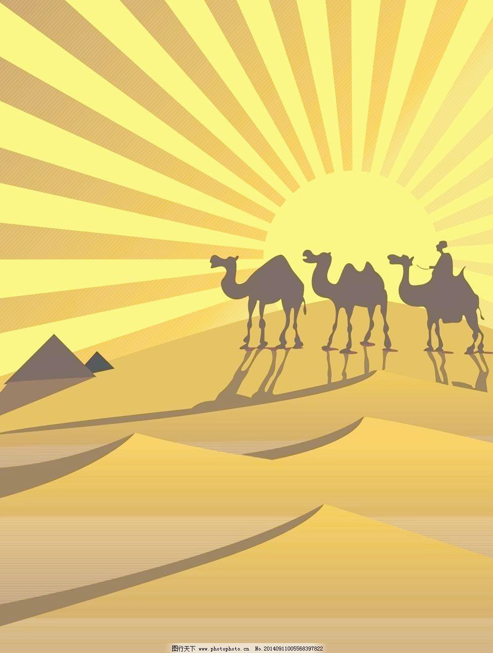 沙漠中行走的骆驼