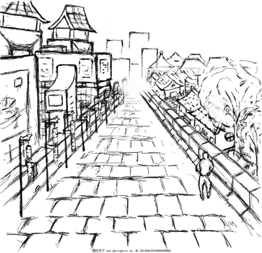 城墙手绘图片